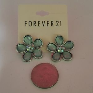 NWT Forever21 teal flower statement earrings